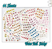 Nail 44Sheets/Lot Mixed 3D Glitter Flower Water Transfer Nail Art Sticker Beauty DIY Nail Art Decal Decoration 44 Designs BJC131