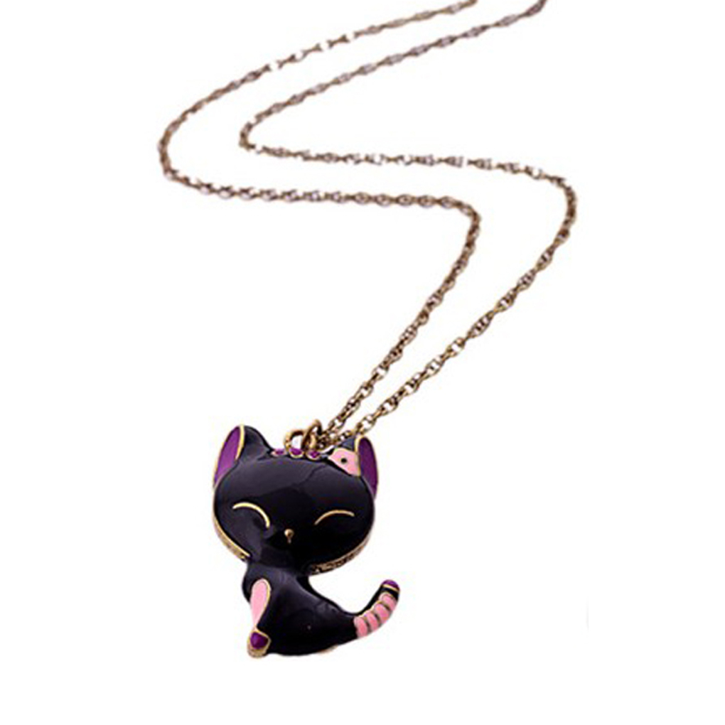 1pcs New Hot Alloy style Gift Black Drip Paint Cat Pendants Necklace Jewelry Accessories hot saling(China (Mainland))