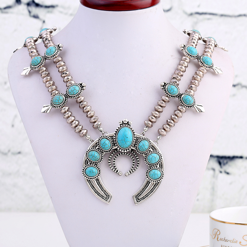 Manufacturers selling new European style fashion Turquoise Necklace Antique Silver Plated Necklace long do not fade fine jewelry(China (Mainland))