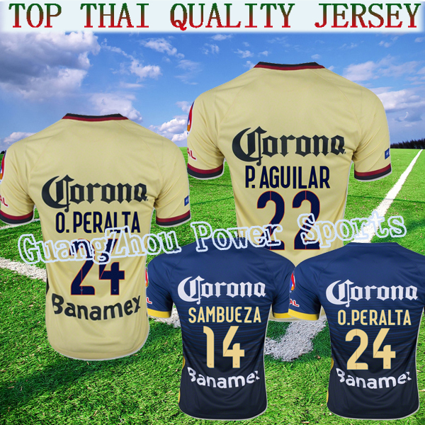 2015/16 NEW club 15 16 America jersey soccer O PERALTA SAMBUEZE PERALTA Quintero HOME AWAY DARK BLUE YELLOW MEXICO 2016 Arroyo(China (Mainland))
