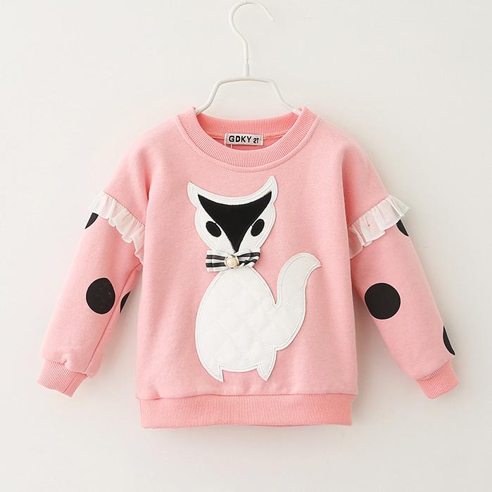 2016 spring and autumn new style girls fox cartoon sweater shirts Hoodies children kids fashion cute beautiful Sweatshirts(China (Mainland))