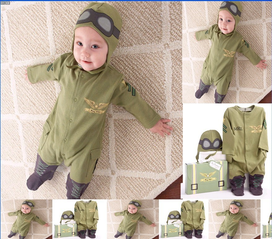 Pilot costume baby little boys air force captain green long sleeve romper with hat ifant toddler clothing set roupas infantil(China (Mainland))