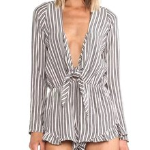 Sexy Plunging Neck Long Sleeve Deep V-neck Black And White Striped Bowknot Rompers Women Short Bathing Robes For Lady(China (Mainland))