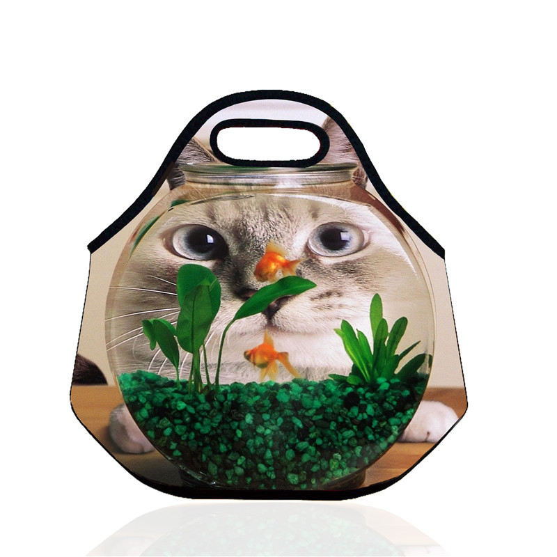 B416 3D Cat Neoprene Lunch Bag Thermal Insulated Cooler Waterproof Picnic Bag Food Storage Portable Bag Creative Gift For Kids(China (Mainland))