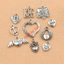 Buy Mixed Tibetan Silver Plated Heart Love Friend Charms Pendants Jewelry Making DIY Charm Crafts Accessories Handmade m034 for $1.10 in AliExpress store
