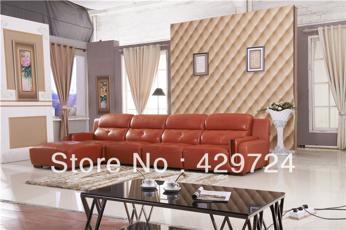 Free Shipping 2013 latest home designs Moden Top Grain leather Corner Sofa Set with Chaise Longue Best Leather Sofa Bed AA011(China (Mainland))