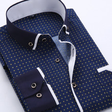 2015 Men's Fashion Casual Long Sleeved Printed shirt Slim Fit Male Business Dress Shirt Camisas Social Masculina Chemise Homme