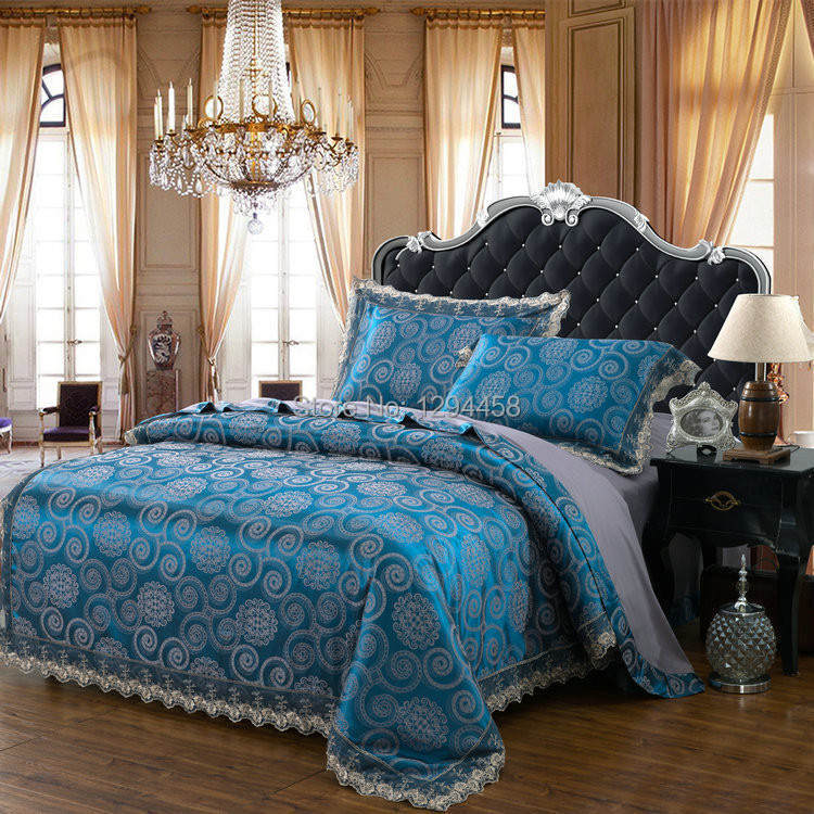 Luxury modal bedding sets european and american pop style for Housse couette satin coton
