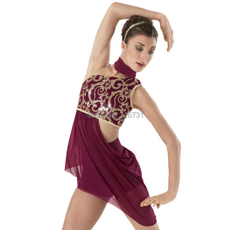 Ballet Dance Vestidos Ballerina Clothes Gymnastics Dress Sequin Tops Dancewear Sexy Night Club Dresses Ballet Dress For Women (China (Mainland))