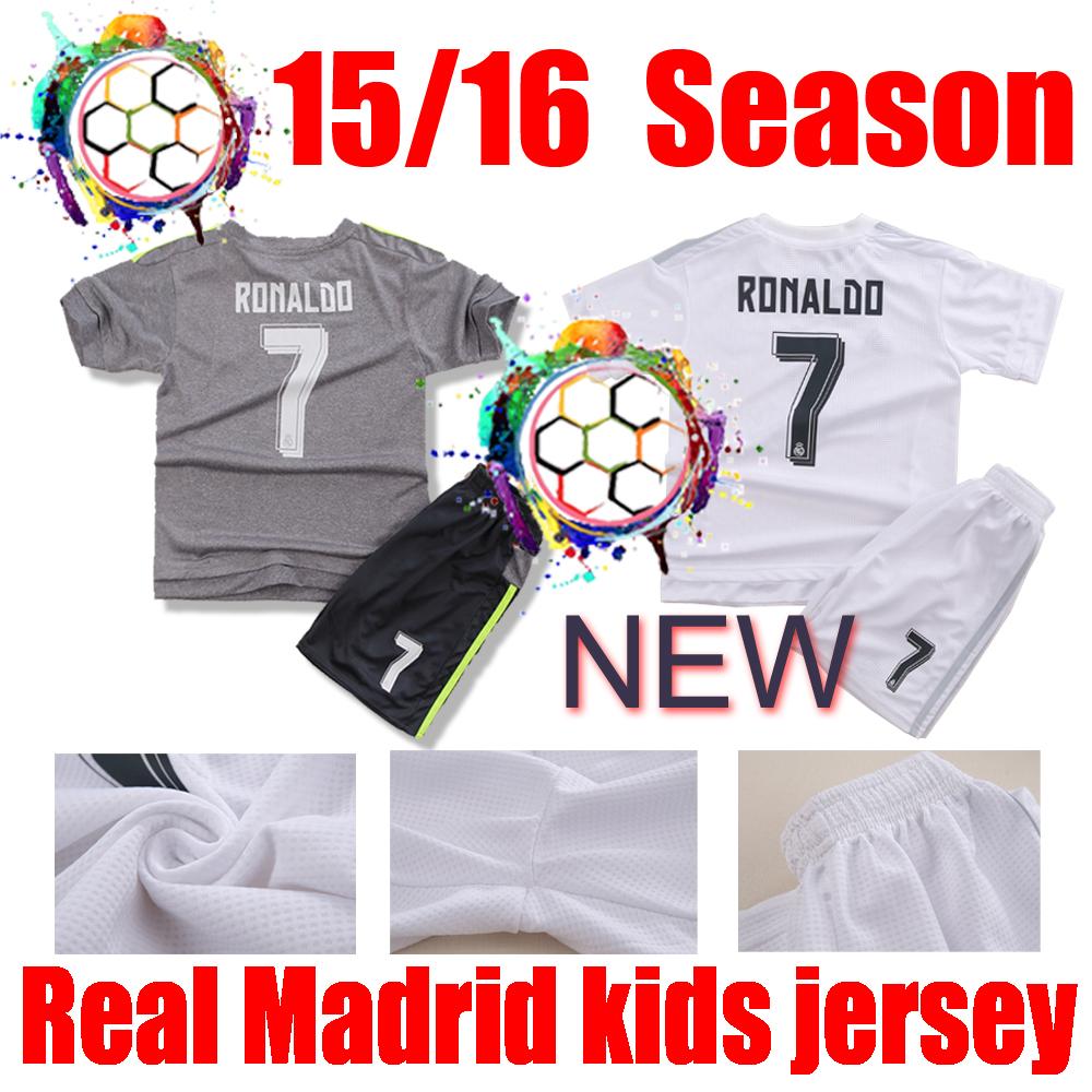 NEW Real Madrid kids black white pink real madrid 15 16 Real Madrid 2016 real madrid Third Mini Kitchildren jerse(China (Mainland))