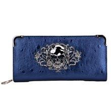 Cool Retro Skull Wallet for Women Vintage Clutch Bag Blue