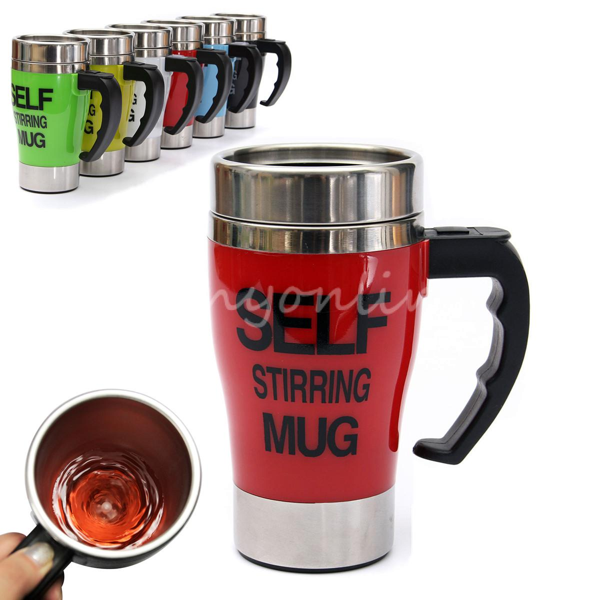 Hot Sale 6 colors Stainless Steel Lazy Self Stirring Mug Auto Mixing Tea Milk Coffee Cup