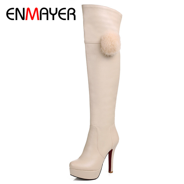 ENMAYER New Fashion Boots Over-the-Knee Round Toe Boots For Women Black White Apricot Long Boots Shoes Winter Boots size 34-39<br><br>Aliexpress