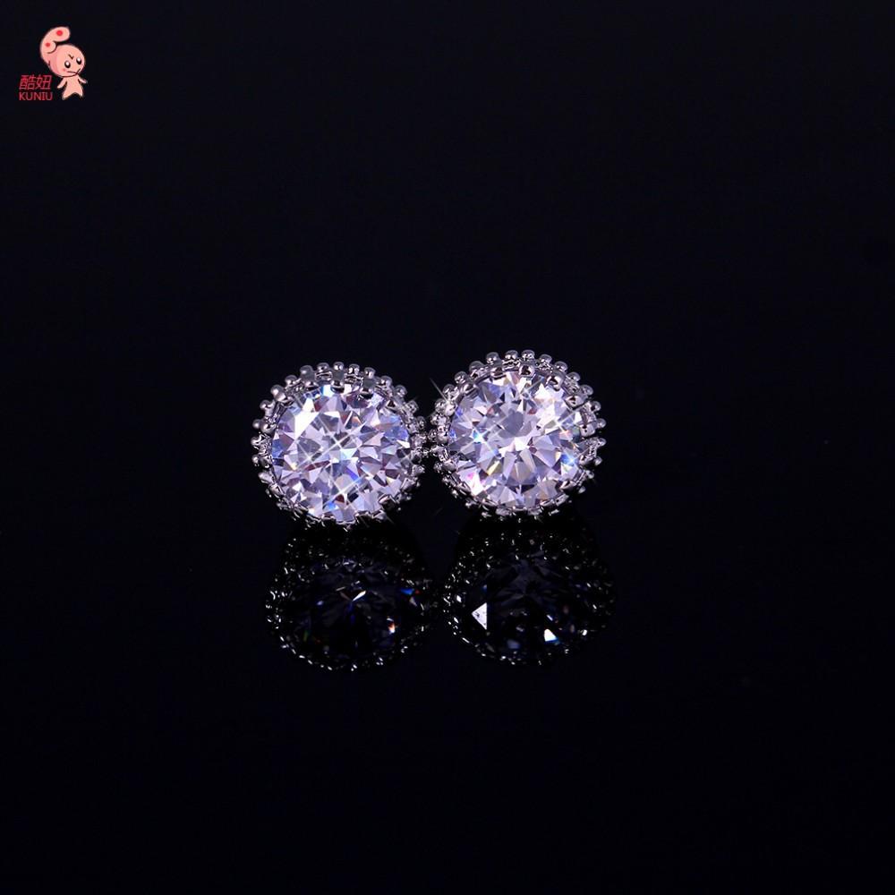 KUNIU Brand Design New Hot Fashion Popular Luxury Crystal CZ Diamond Wedding Stud Earrings Elegant Earrings Jewelry For Women(China (Mainland))