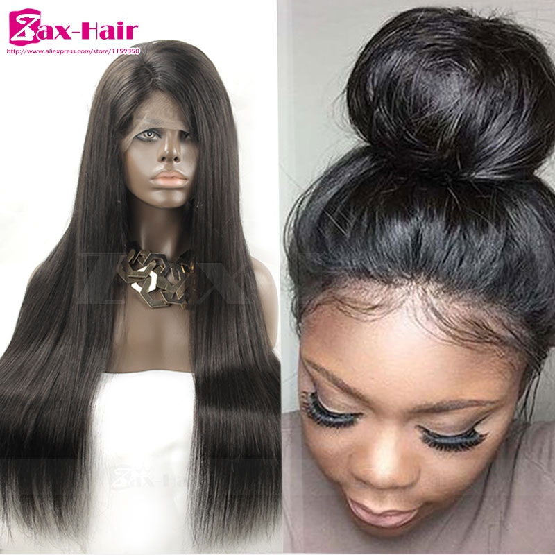 Фотография SALE Remy Glueless Full Lace Human Hair Wigs For Black Women Lace Front Wig Silky Straight 7A Virgin Brazilian Human Hair Wigs
