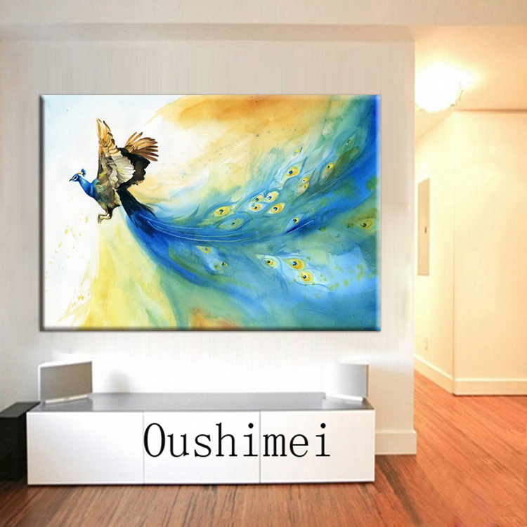 Flying Animal Beautiful Peacock Oil Painting On Canvas Artist Handmade Abstract Colorful Animal Peacock Oil Painting Decoration