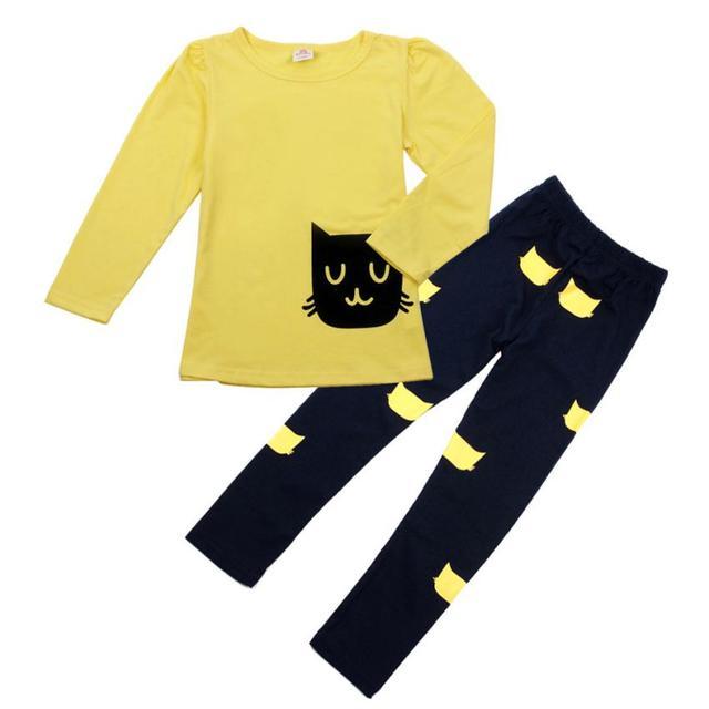 Красивые девочки одежда наборы Дети Девочка С Длинным Рукавом Мультфильм Cat рубашка ...