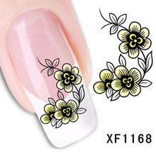 1Pcs Nail Art Water Sticker Nails Beauty Wraps Foil Polish Decals Temporary Tattoos Watermark + Free Shipping (XF1168)