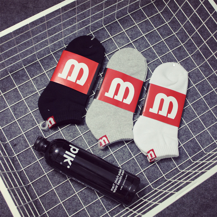 37-43 1lot=3pairs given original FK Thick Thin GS Wilson SHORT ankle socks sox signature white black grey RED M men cousins bro(China (Mainland))