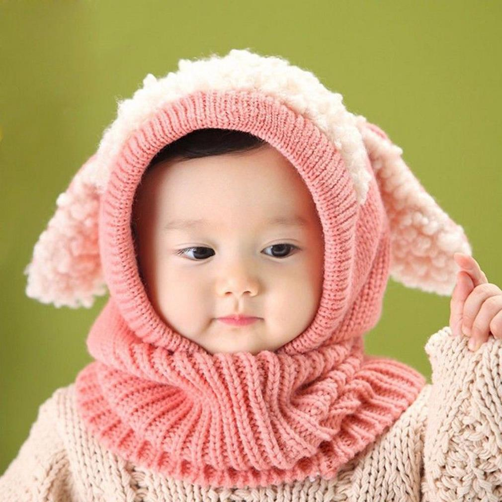 Winter Baby Girl Boy Warm Cute Dog Pattern Knitted Crochet Hooded Neck Hat Cap Beanie Scarf Hot!(China (Mainland))