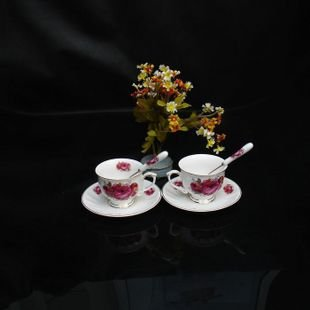 High Quality Elegant Coffee Cup Fine Bone China Coffee Cup Gift 5 sets lot free shipping