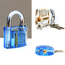Transparent clear Visible Pick Practice Padlock Lock With Broken Key Removing Hooks Lock Kit Extractor Set Locksmith Tool(China (Mainland))