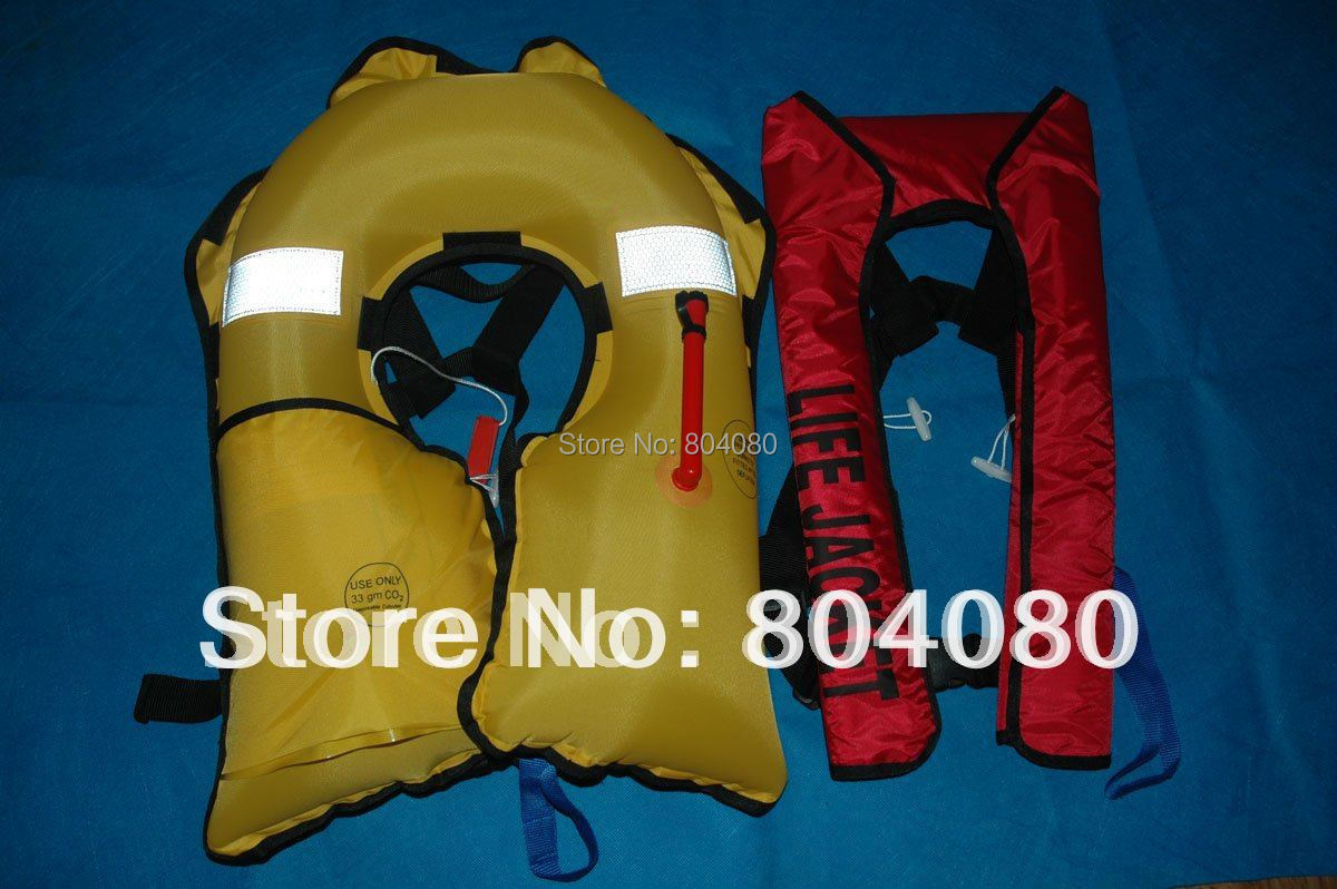 SOLAS Standard Guaranteed 100% Polyester fabric Automatic Inflatable life jackets on 150N(China (Mainland))