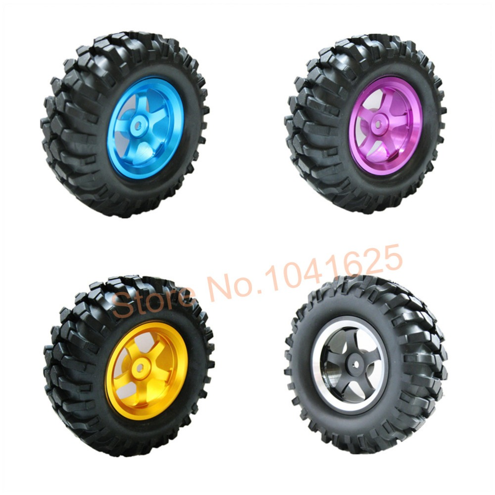 "4Pcs Aluminum Rubber 96mm 1.9"" Tires & Wheel Hex:12mm For 1/10 Scale RC Crawler Rock Racer Car HPI King(China (Mainland))"