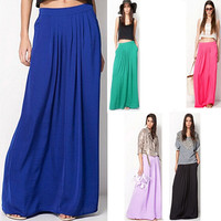 2015 Female Celebrity Style Pastel Candy Colored Long Skirt Pleated Skirt Plus Size For Woman Skirts Color Blue Green Rose red