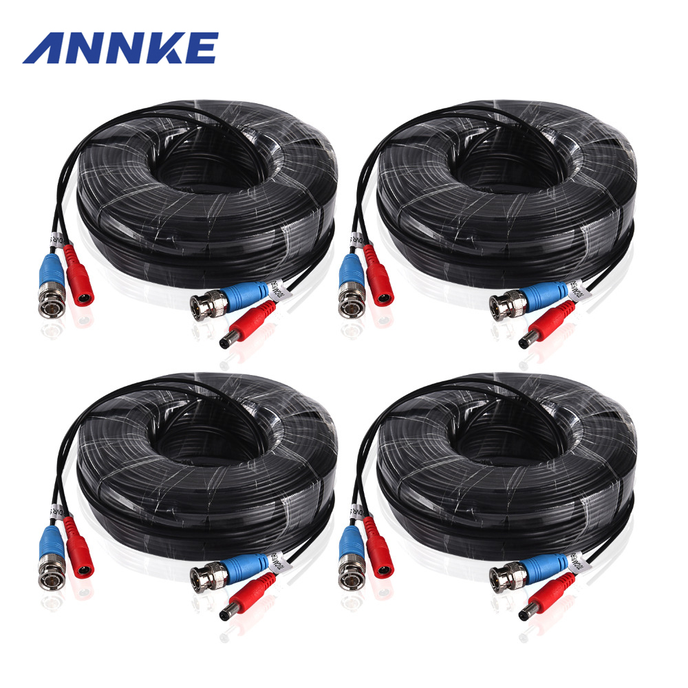 ANNKE 4PCS a Lot 30M 100 Feet CCTV BNC Video Power Cable For CCTV AHD Camera DVR Security System Black Surveillance Accessories(China (Mainland))