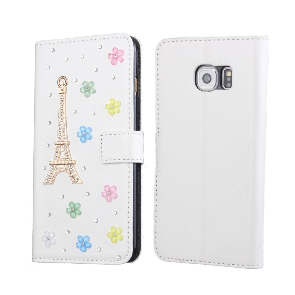 Fashion DIY Rhinestone Wallet Leather Case for Samsung Galaxy S6 edge with Stand Function(China (Mainland))