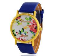 Leather Rose Watch Flower Geneva Watches Women Dress Quartz Watch 400PCS/lot