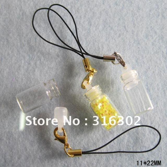 500 x 1ml empty Glass spell bottle pendant, oil / herbs / fairy / dust / sand, mini glass bottle with mobile string