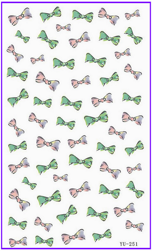 1X Water Transfers Stickers Nail Decals Bow Tie Water Decal YU250-252(China (Mainland))