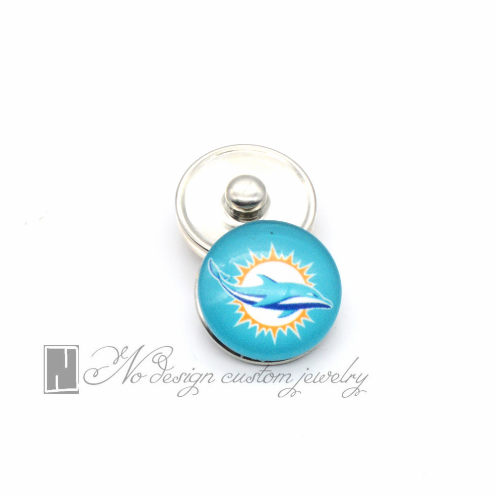 Fashion Jewelry Seattle Miami Football Team Snap Button Jewelry 18mm Dolphin Snap Button Charms For Sports Fans NE0138(China (Mainland))