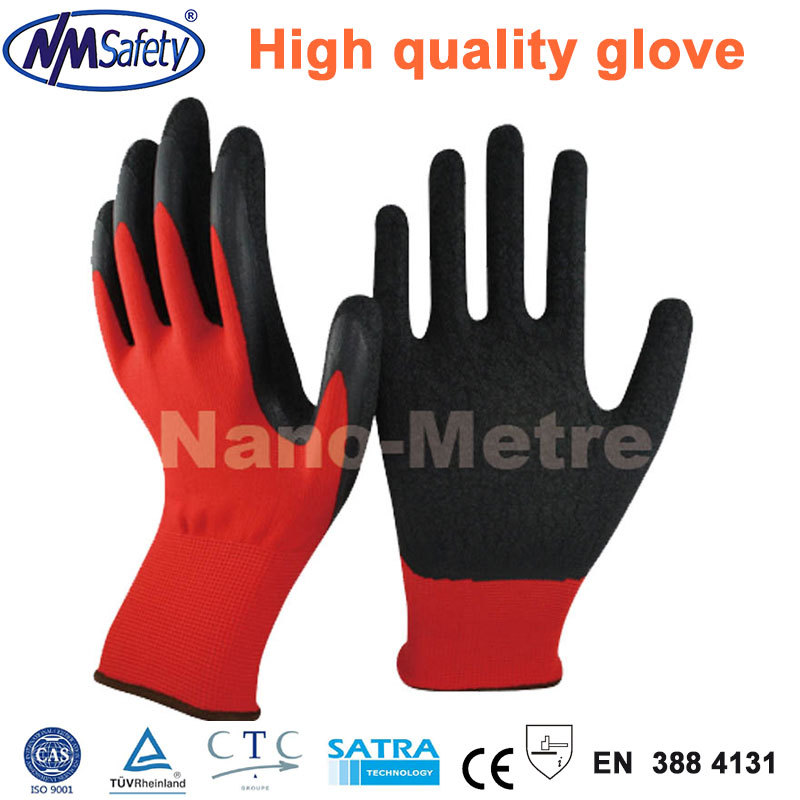 NMSafety 4 Pairs High Quality Red Polyester Liner Coated Black Latex Safety Work Gloves Builders Grip Handing(China (Mainland))