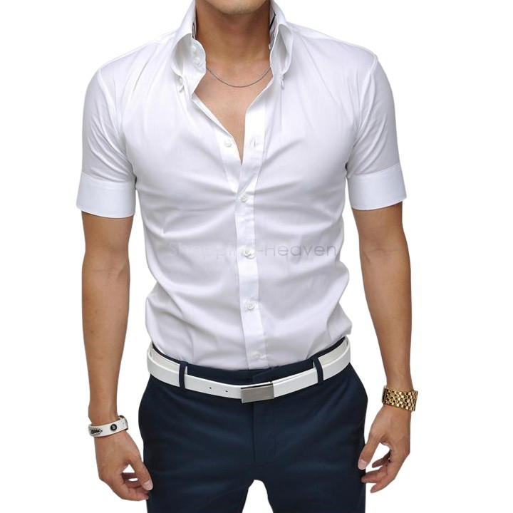 2015 men shirt british style short sleeve male slim casual for Corporate shirts for men