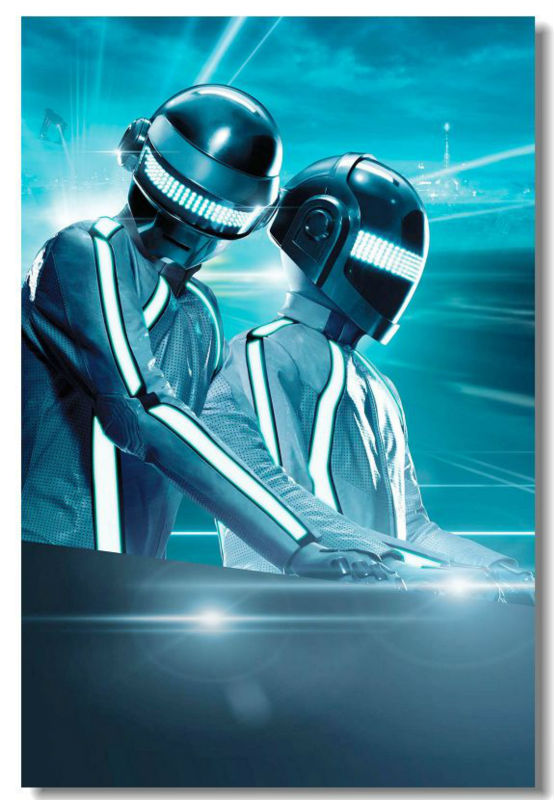 Daft punk dj pop music electronicmusic cloth silk poster for Daft punk mural