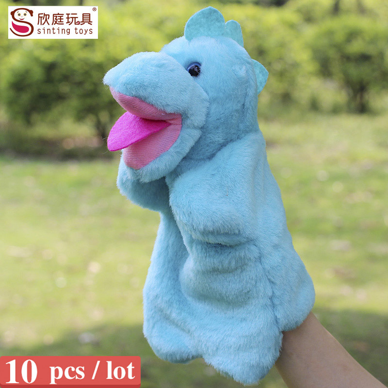Sale the dinosaur hand puppets for kids plush anmial hand puppet large size finger puppets 10pcs/lot(China (Mainland))