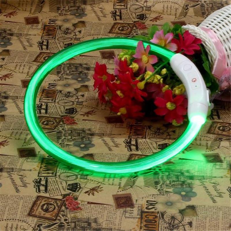 1pc Rechargeable USB Waterproof LED Flashing Light Band Safety Pet Dog Collar wholesale free shipping B40(China (Mainland))