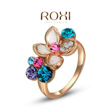 ROXI exquisite rose-golden colorful flower rings,fashion jewelrys,high quality,newest arrival,Christmas gifts