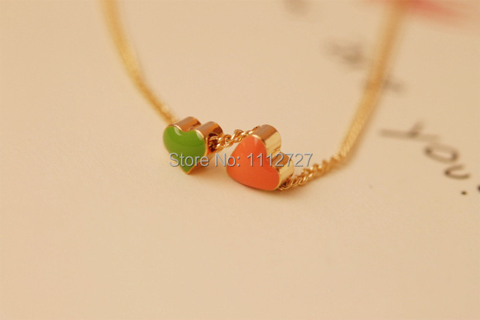 Trendy Female Color Drop Glaze Double Heart Necklace Short Sautoir Clavicle Chain Jewelry El collar. Wholesale Price(China (Mainland))