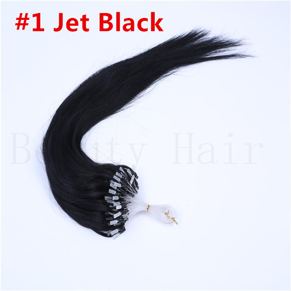5A 100s 0.7g/s 20'' 70g #1 jet black micro loops hair real full head set micro rings hair extensions straight hair weaves(China (Mainland))