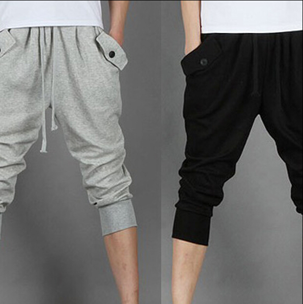 Hot Selling 2015 Drop Crotch Pant Men Parkour Sport Track Tapered Trousers Men Outdoor Sports Training Fitness Cross-pants(China (Mainland))