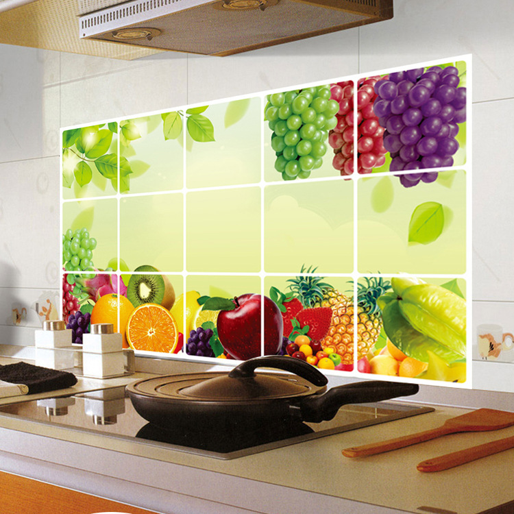 Kitchen wall sticker decal kitchenware wall tile stickers for Stickers decorativos para ceramica