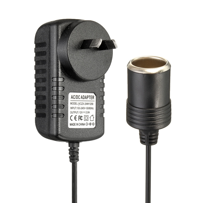 AC 100-240V to DC 12V/2A AU/US/UK/EU Plug Charger Power Adapter Cigarette Lighter Socket Travel Wall Charger Converter for Car(China (Mainland))