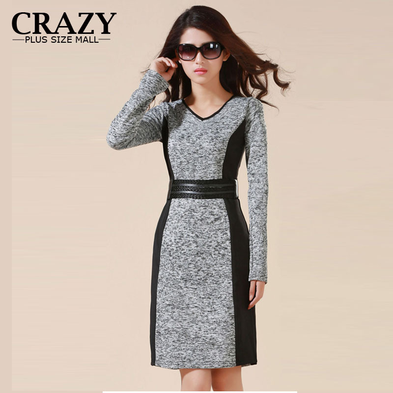 2016 M - 5XL 4XL 3XL High Quality OL Business Dresses Work Wear High Elastic Slim Warm Winter Dress Plus Size Womens Clothing(China (Mainland))