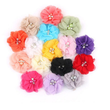 30pcs/lot 1.97'' cute Chiffon ruffled flowers with Rhinestone Pearl without clips for girls diy headbands hair accessories(China (Mainland))