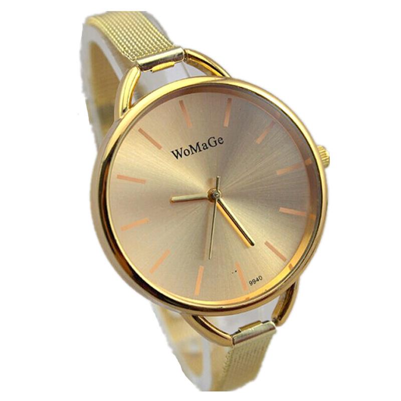 freeshipping 100pcs/lot fashion design elegant slim grid steel band womage promotion watch,gold color,precise quartz movement<br><br>Aliexpress