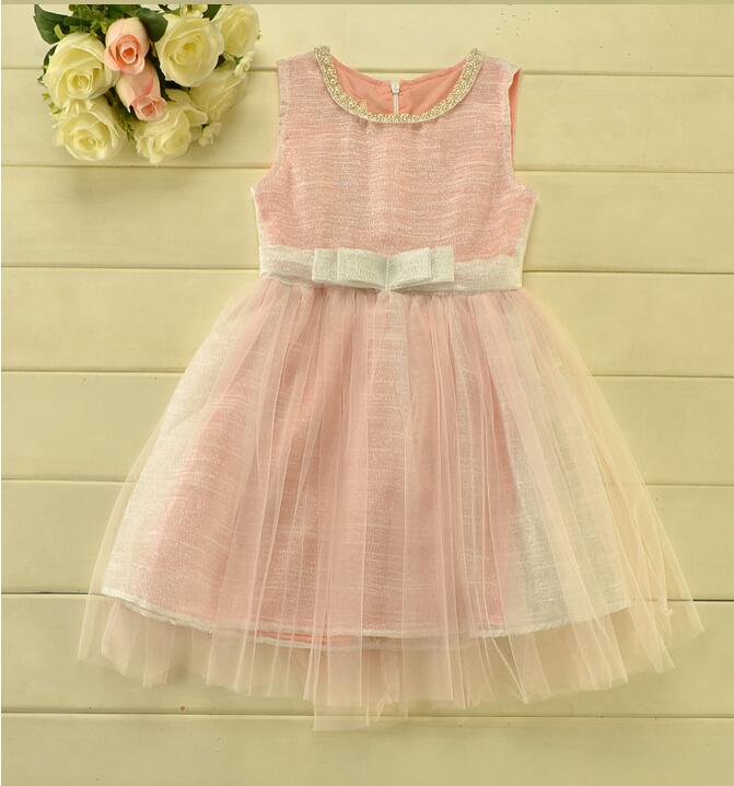 206051 Wholesale High Quelity New Summer Korea Girl Princess Dress Sleeveless Patchwork Lace Beading Necklace Wedding Dress<br><br>Aliexpress